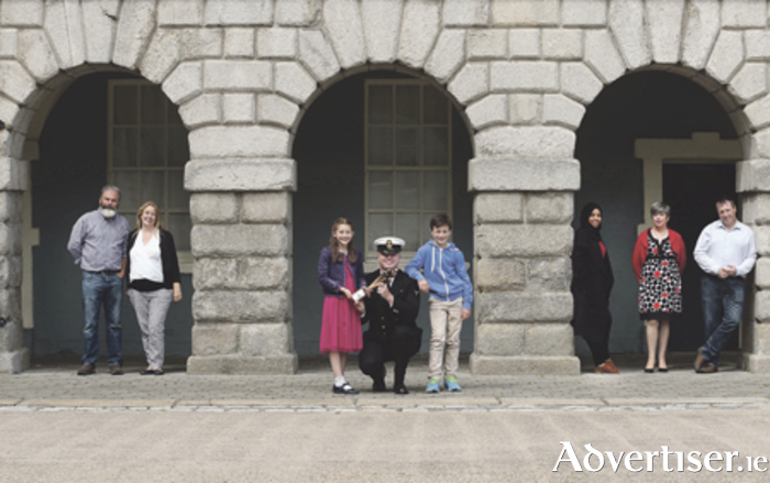 Pictured at Collins Barracks, Dublin for the launch of the 2016 People of the Year Awards, were previous winners Marty and Ade Stack; Ruairi de Barra (Óglaigh na hÉireann) with Aoibheann Mangan and Padraig Godwin; and Fadhila Hajji, Louise O'Keeffe, and John Evoy