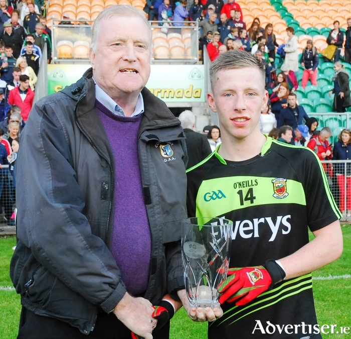 Man of the match: Belmullet's Ryan O'Donoghue accepts his man of the match award. Photo: Leitrim Observer