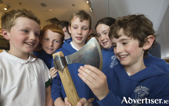 Pupils from Scoil Raifteirí, Castlebar, at the National Museum of Ireland of Country Life, see the new exhibition 'The Hoard and the Sword: Echoes of the Vikings in Mayo'. Photo: Keith Heneghan / Phocus.