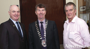 Peter Hynes  (Mayo County Council, chief executive), Cllr Al McDonnell the newly elected Cathaoirleach of Mayo County Council and Cllr Christy Hyland the newly elected Leas Cathaoirleach of Mayo County Council. Photo: Tom Campbell