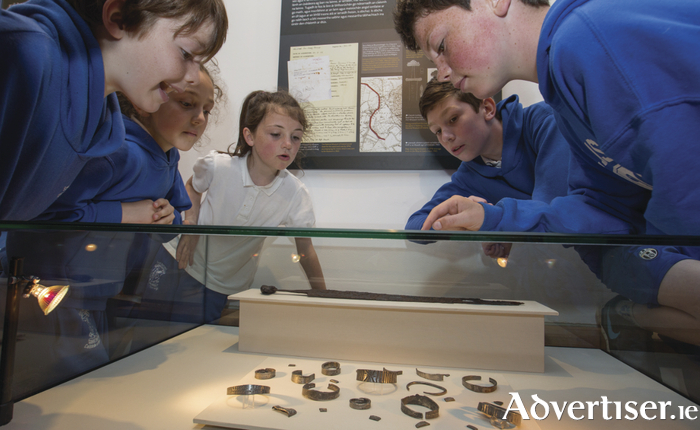 "Pupils from Scoil Raifteirí, Castlebar at the National Museum of Ireland – Country Life, Turlough Park, Castlebar, to see the new exhibition ""The Hoard and the Sword: Echoes of the Vikings in Mayo"". Photo: Keith Heneghan / Phocus."