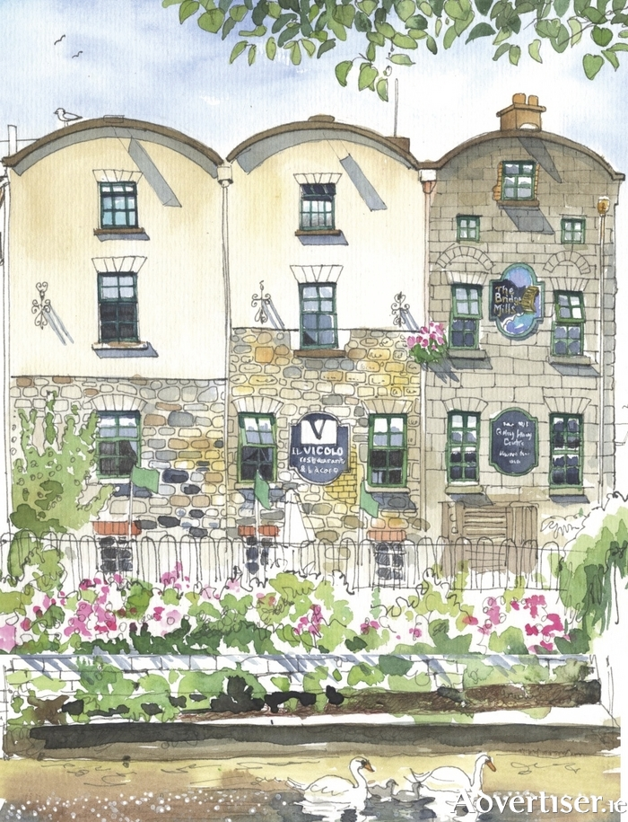 A detail from Róisín Curé's depiction of the Bridge Mills.