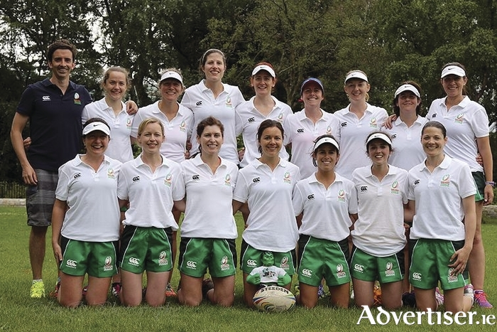 The Ireland W27s Touch squad: Back row: Conor Slack (coach), Dawn Smith, Anthea Joyce, Claire Picard, Ciara Gallagher, Ele Flood, Michelle Mulcahy, Michelle Coen, Sana Tansey (team manager), Front row: Sarah Jane Hannon, Amy Evans, Nicola Corcoran, Jenny McDonnell, Elaine Hall, Neasa Newell, Colleen Markland. Absent: Caitriona De Paor.Photo: Oliver O'Flanagan.