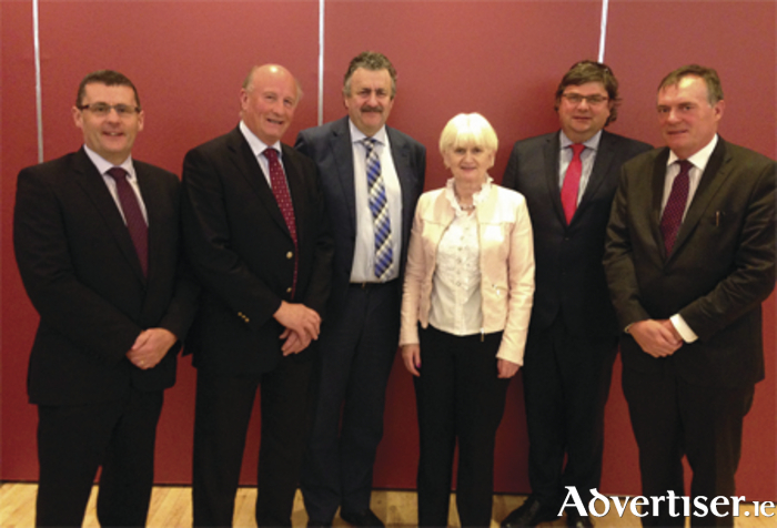 Left to right: Justin Molloy, CIF; Charles Wills, Wills Brothers Ltd;, Dominic Doheny, John Flanagan Developments Ltd; Marian Harkin, MEP; Paul Carey, Carey Building Contractors Ltd; and Brendan Henry, Kilcawley Construction