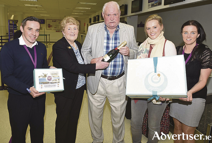 Pictured presenting the ten millionth passenger to use Ireland West Airport with some gifts to mark the occasion were from left to right, Patrick Maloney (customer services agent, Ireland West Airport), Margaret Conway, Seamus Conway, Lorna Conway (ten millionth passenger) and Audrey Elliott (marketing executive, Ireland West Airport).
