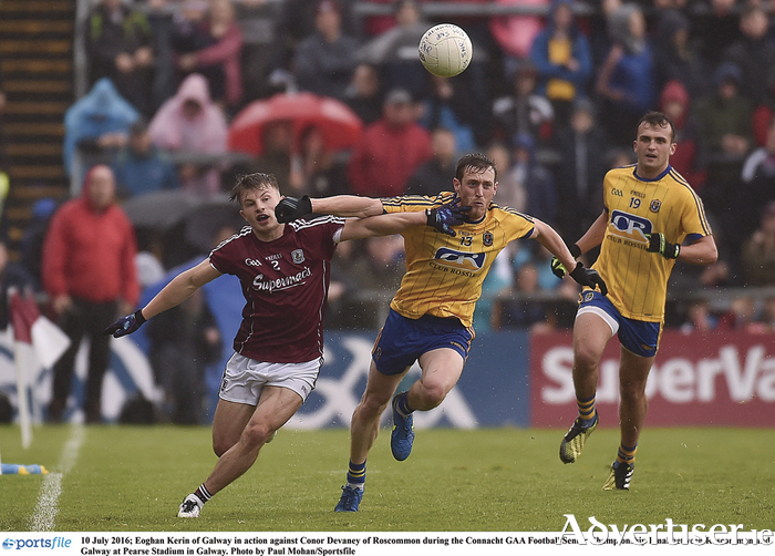 Eoghan Kerin of Galway in action against Conor Devaney of Roscommon during the Connacht GAA Football Senior Championship Final between Roscommon and Galway at Pearse Stadium in Galway. Photo by Paul Mohan/Sportsfile
