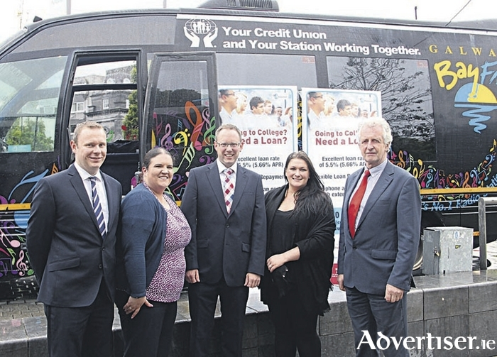 Attending the launch of St. Anthony & Claddagh Credit Union CU 4 Education were Declan Lally, Sarah Kelly and Ted Coyle of St Anthony's and Claddagh Credit Union with Shona O'Dwyer and Mick Culkeen of St Jarlath's Credit Union.