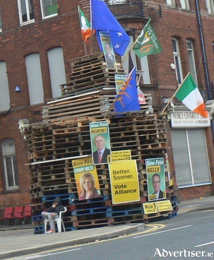 Mayo bases Senator Rose Conway Walsh's election poster was burnt on a Loyalist bonfire in Belfast this week.