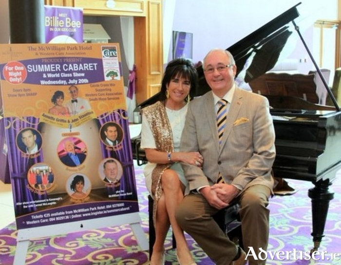 Annette Griffin and John Staunton who will host the summer cabaret in aid of Western Care in Claremorris next week.
