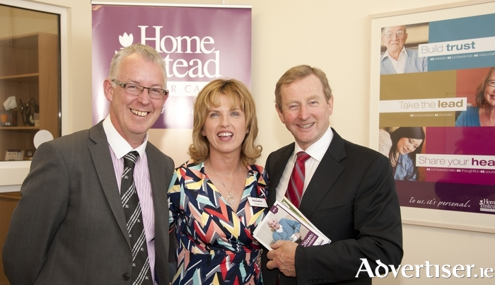 Seamus Reidy and Oonagh Cox, owners of Home Instead Senior Care, with An Taoiseach Enda Kenny at official launch of their new home care business.