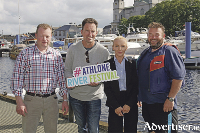 Pictured are the organisers and supporters of the Athlone River Festival: Robert Fleming, The Malthouse; Adam Lyons, Kin Khao restaurant; Wanda Fitzpatrick, The Sheraton Hotel; and Paul Donovan, Sean's Bar. The annual River Festival & Food Village will take place from Friday to Sunday, September 9 to 11. Photo: Shelley Corcoran