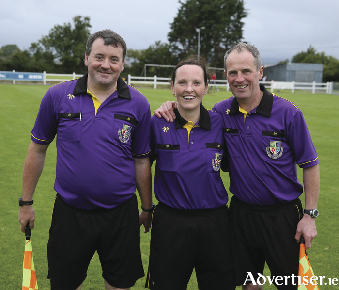 Referee Ann Sweeney with her assistant referees Stephen Redmond and Kevin Cox in the final of the Terence McDonnell Cup (sponsored by McHale Agri Forest and Garden) in Milebush Park Castlebar. Photo: Michael Donnelly
