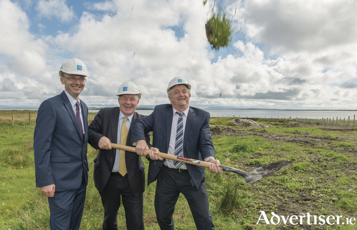Colm Claffey (Irish Water) and Minister Michael Ring TD and Cllr Gerry Coyle  turn the sod on the €9m Waste Water Treatment Plant in Belmullet. Photo: Michael McLaughlin