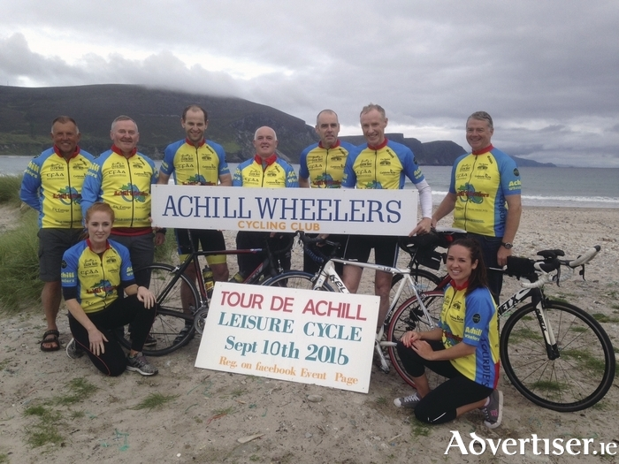 Members of Achill Wheelers Cycling Club launch their Tour de Achill leisure cycling event on Keel beach, Achill.  Pictured back, from left; Thomas McLoughlin, Micheál McNamara, Anton McNulty, Edward Scanlon, Martin McNulty, Gerry Thomas and Seán Lyons. Front: Maeibh McNamara and Maire McLoughlin