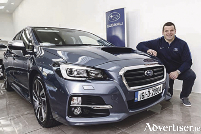 Leinster and Ireland's Mike Ross is pictured with the new Subaru Levorg