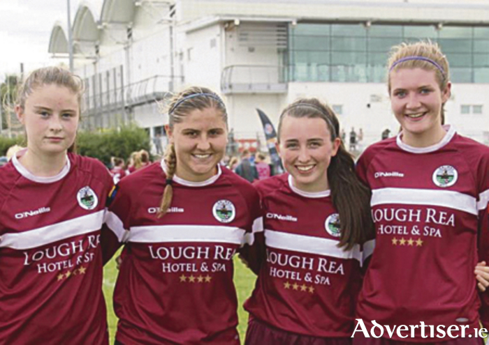 Galway WFC debutantes Jennifer Chambers, Alina Cheatham, and Sadhbh and Yvonne Hedigan who started in Galway's opening day victory over Kilkenny United on Sunday.