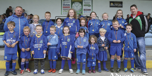 The Manulla mascots receiving their medals at half time in last weekends, Westaro Cup final. Photo: Michael Donnelly
