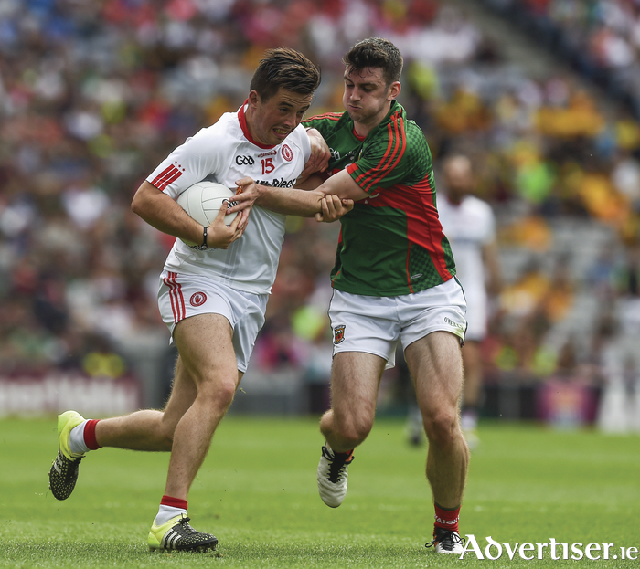 Brendan Harrision and the Mayo defence will need to be on their toes on Saturday. Photo: Sportsfile