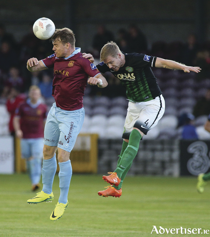 Vinny Faherty, Galway United, and Conor Kenna, Bray Wanderers, in action during the SSE Airtricity League Premier Division game at Eamonn Deacy Park.  Photograph: Mike Shaughnessy