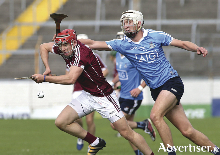 Galway's Kevin McHugo and Dublin's Eoghan Conroy in action during the U21 All Ireland Hurling semi final at Semple Stadium, Thurles.   Photograph: Mike Shaughnessy