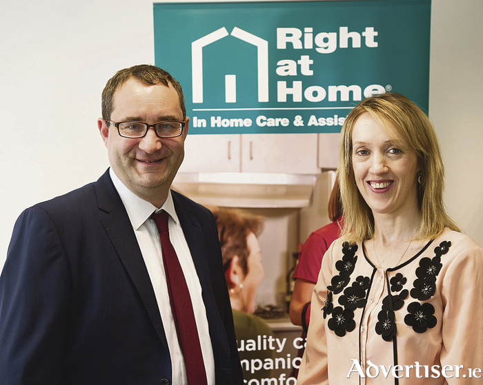 David McKone, managing director of Right at Home Ireland, with Natalie Crowe, Right at Home Galway   Photo: Andrew Downes, Xposure.