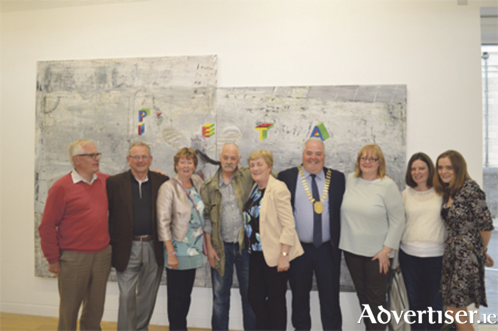 Patrick Graham is pictured with members of his family and Athlone Mayor, Cllr John Dolan, at the opening of his solo exhibition -'Lullaby' - at Luan Gallery last weekend