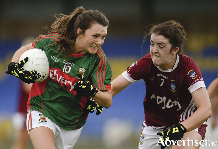 Final push: Niamh Kelly will be one of Mayo's key players on Saturday evening. Photo: Sportsfile.