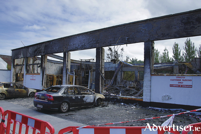 The aftermath of the fire which destroyed Shannon Dry Cleaners premises on Prospect Hill, Wednesday morning. 		Photo:-Mike Shaughnessy