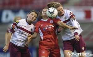 Lucy Hannon, left, and Yvonne Hedigan, right, of Galway WFC up against Shelbourne in the recent draw will be heading south determined to build on their league form.