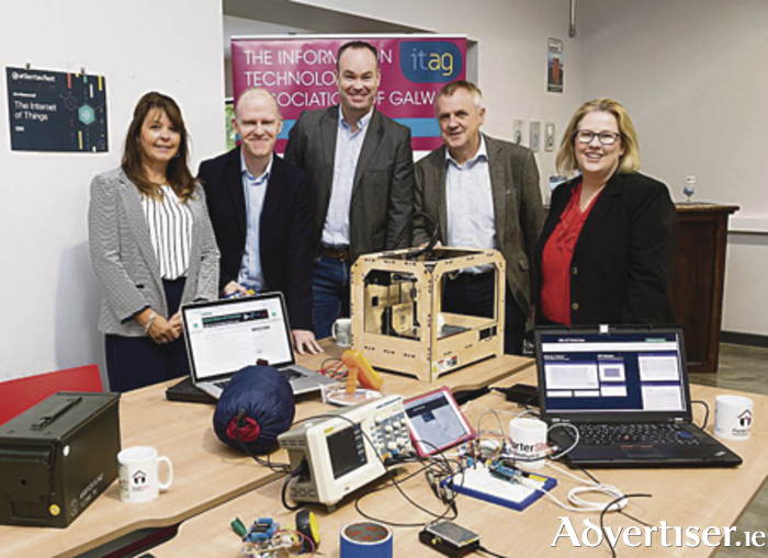 Caroline Cawley, ITAG, Ken Coogan IBM,  Keith Griffin CISCO, Paddy Medley ITAG, and Mary Rodgers Portershed at the launch of  Ireland's first IBM Watson IoT hackathon.