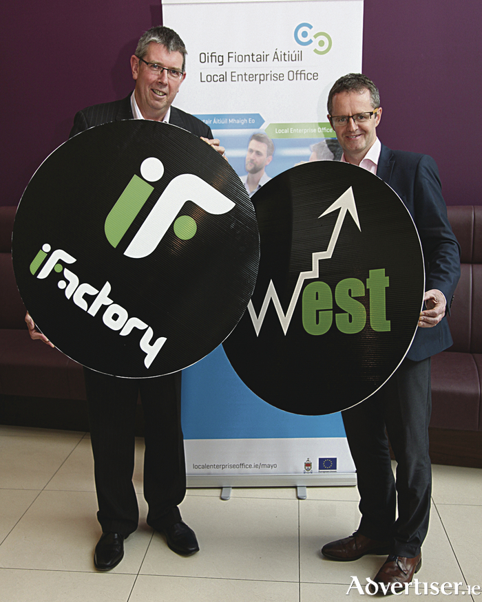 Pictured at the launch of iFactory West is Seamus Mc Cormack (area manager WestBIC)  and John Magee (acting CEO of Mayo LEO).