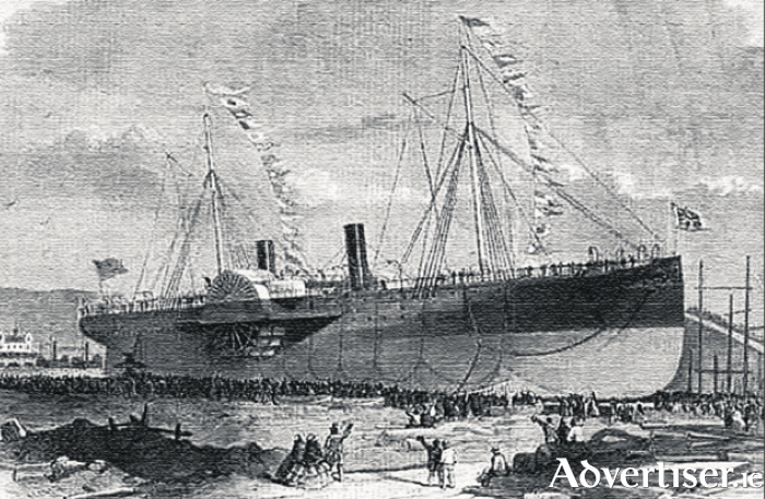 The launching of the PS Connaught, flagship of the Galway Line, on April 21 1860 at Jarrow, on the Tyneside (both pictures from Tim Collins' book).