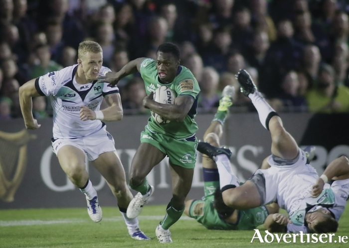 Connacht's  Niyi Adeolokun is chased by Osprey's Olly Cracknell at the Sportsground on Saturday. Adeolokun signed a three year contract extension this week, Photo:-Mike Shaughnessy
