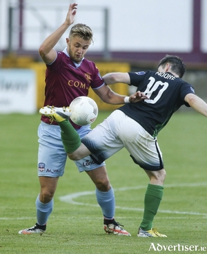 Alex Byrne, Galway United, and Karl Moore, Bray Wanderers, in action during the SSE Airtricity League Premier Division game at Eamonn Deacy Park.  Photograph: Mike Shaughnessy
