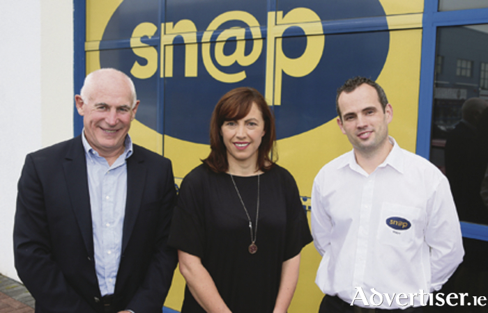 Michael Kearney (director Snap Ireland), Sarah Flood (owner Snap Mayo), and Kristian Sheridan (centre manager) pictured at the Snap Mayo celebration event in their new premises.