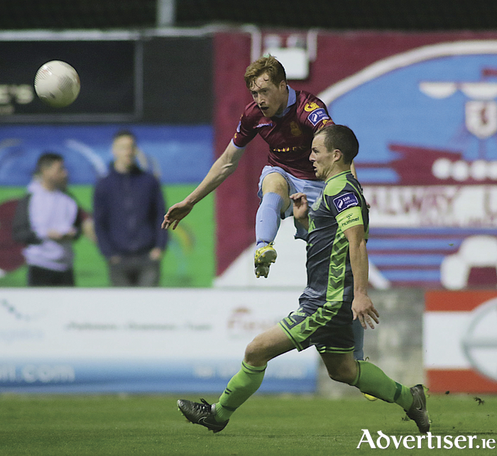 Galway United's Gary Shanahan and Bohemians' Dylan Hayes in action from the SSE Airtricity League game at Eamonn Deacy Park on Friday night. Photo:-Mike Shaughnessy