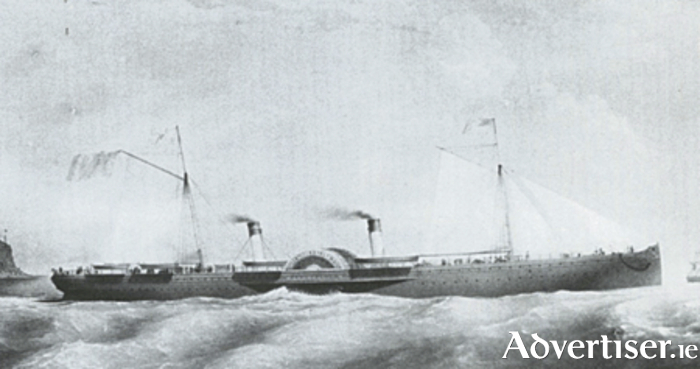 The PS Connaught under way, showing her modern hull lines, with straight-stemmed bow, and relatively small funnels (Photo from Tim Collin's book).