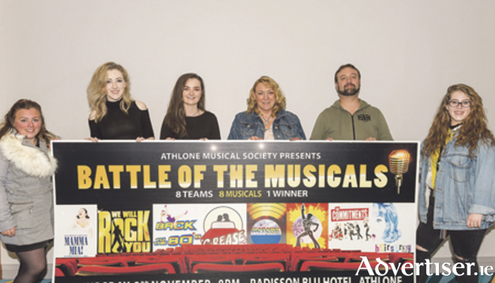 Robyn Withers, Cherise O'Moore, Eimear Hannon, Rosaleen West, Joe Steiner, and Hannah Dowling are pictured at the launch of Athlone Musical Society's 'Battle of the Musicals' event