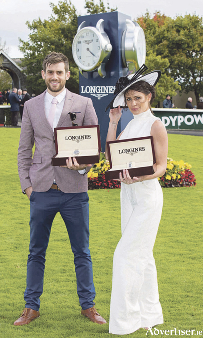 Chris Bonini from Athlone is pictured with Anna Maguire from Rush, County Dublin - the winners of the Longines Prize for Elegance at the Longines Irish Champions weekend at The Curragh racecourse on Sunday, September 11. Photo: Conor Healy Photography