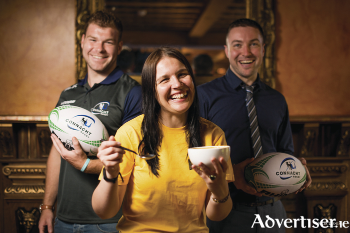 The Skeff are Official Player Sponsor of Connacht Rugby's Jack Dinneen who had some pre-training soup with Deirdre Treacy, Fundraising Manager and Paul Walsh Entertainment Manager of The Skeff.