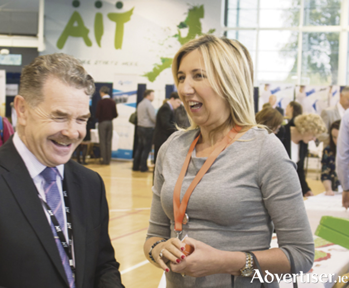 Professor Ciarán O'Catháin and Sharon McNevin, founder of Robotics and Drives, pictured at the Life Science Fair at AIT