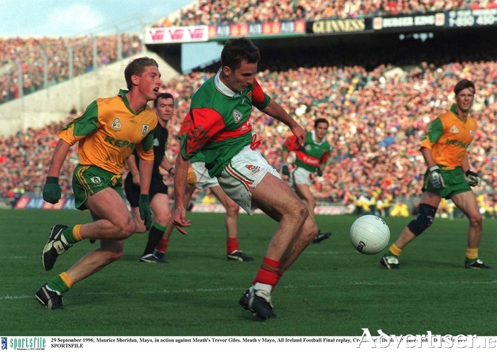 Royal flush: Maurice Sheridan shoots for a point against Meath in the 1996 replay. Photo: Sportsfile.