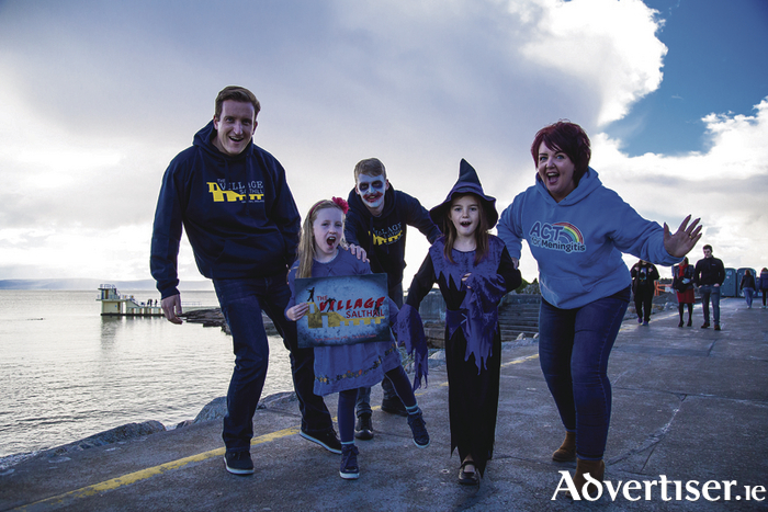 "Pictured at the launch of the ""Zombie Chase"" on the Salthill Prom are (l-r) Jeff Curran, Sophia Curran, Ken Kineen (The Village Salthill), Shíona McGoldrick and Dawn McGoldrick  (ACT for Meningitis)"