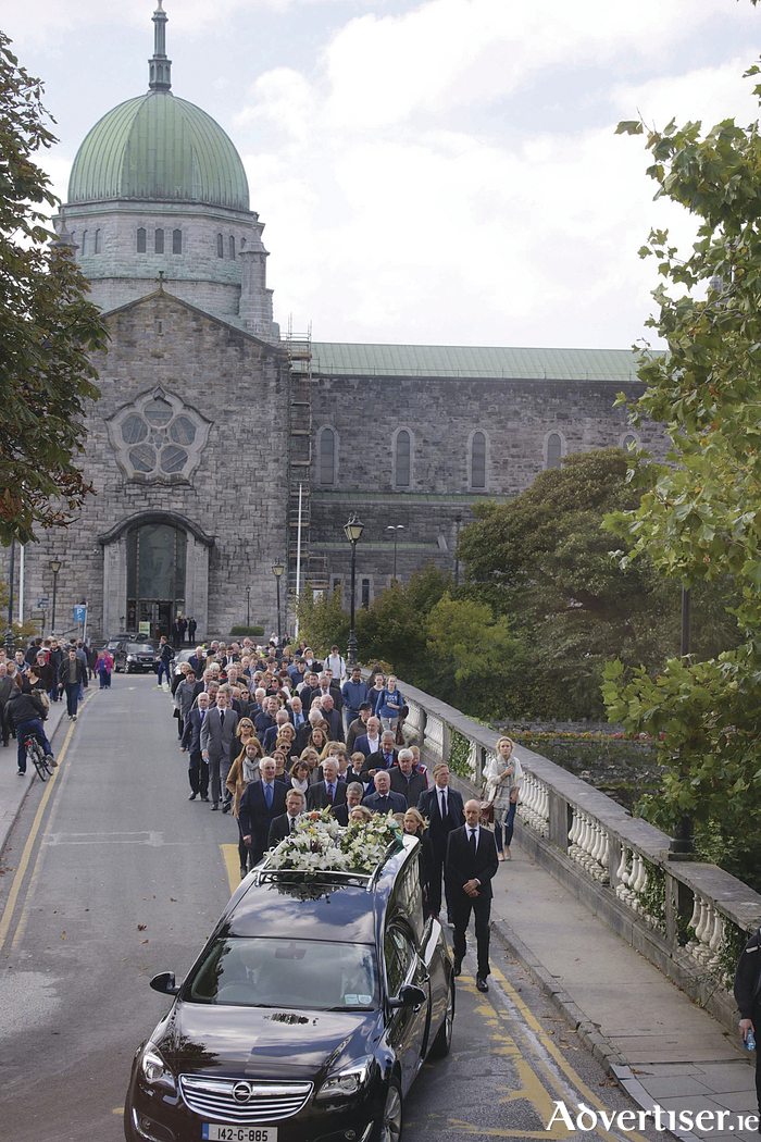 Bobby's last journey — the funeral leaves Galway Cathedral yesterday afternoon. Pic: Mike Shaughnessy.