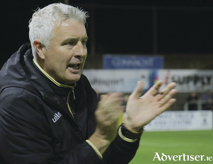 Galway United interim manager Leo Tierney watches his side defeat UCD 3 -2 in Eamonn Deacy Park on Saturday night.  Photo:-Mike Shaughnessy