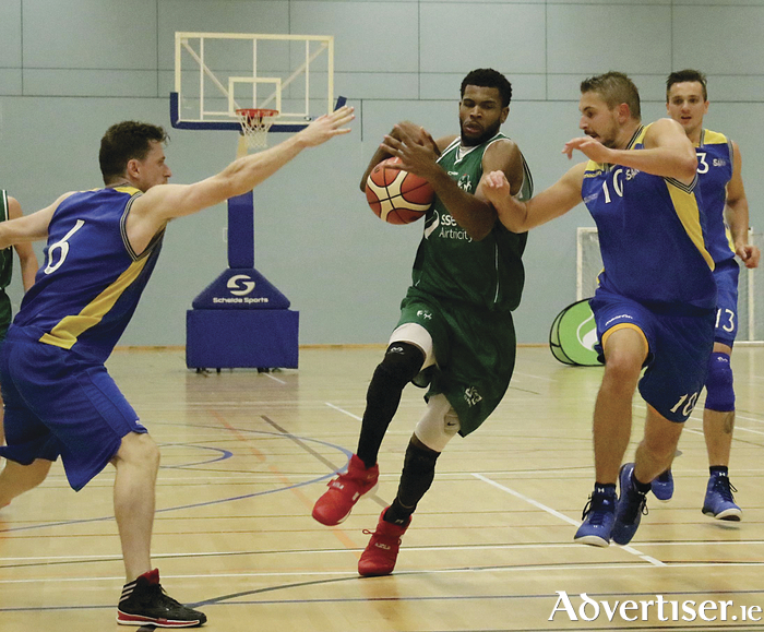 Moycullen's Philip Lawrence Ricks in action from the opening home game of the Basketball Ireland Superleague against DCU saints  in The Kingfisher NUI Galway on Saturday.  						Photo:-Mike Shaughnessy