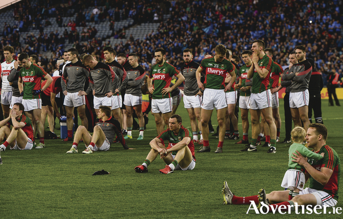 Mayo players dejected after the GAA Football All-Ireland Senior Championship Final Replay match between Dublin and Mayo at Croke Park in Dublin. Photo Sportsfile