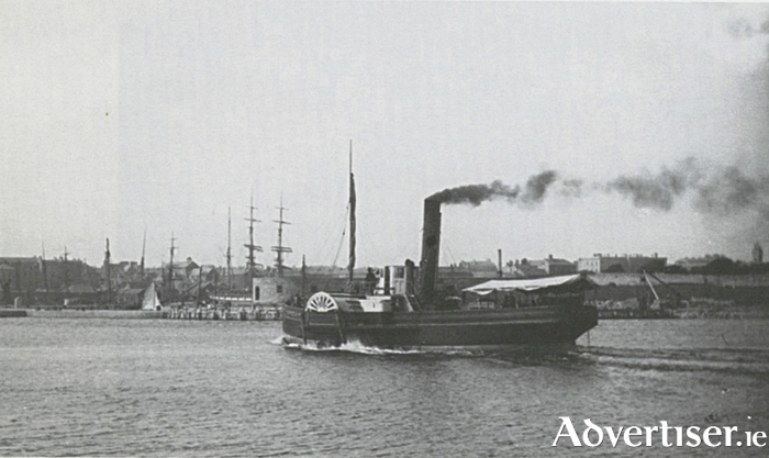 The PS Citie of the Tribes,  photgraphed from the end of Nimmos's pier about 1872, inbound to  Galway docks from the Aran