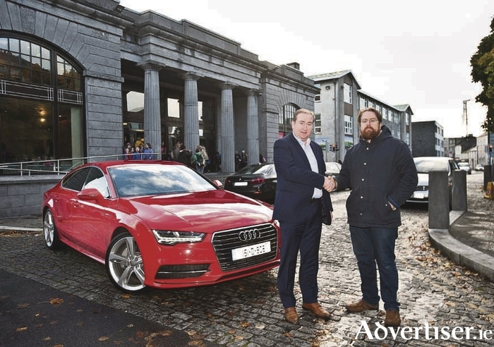 Matty Egan, Brand Manager with Audi Galway, pictured with JP McMahon, Food on the Edge Symposium Director and the Audi A7 Sportback. Audi Galway have been announced as transport sponsors for Food on the Edge, which takes place at the Town Hall Theatre on 24 and 25 October. Photo: Declan Monaghan