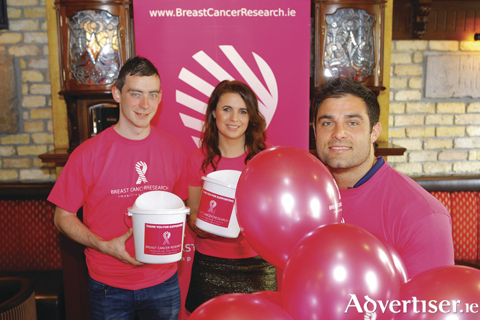 James O'Neill Bar Manager at Blake's Bar, Aoife Reilly Fundraising and Communications Officer at Breast Cancer Research and Connacht Rugby Player Ronan Loughney at the launch of Blake's Corner Bar Charity Week